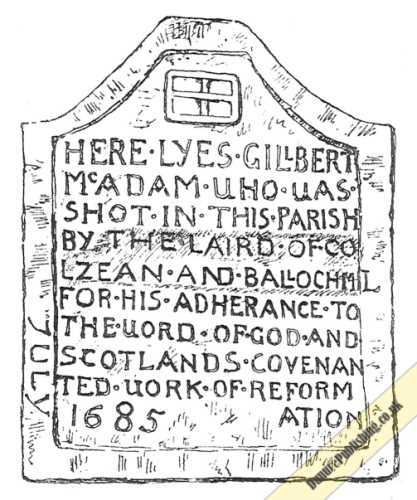 Drawing of tombstone to Gilbert McAdam